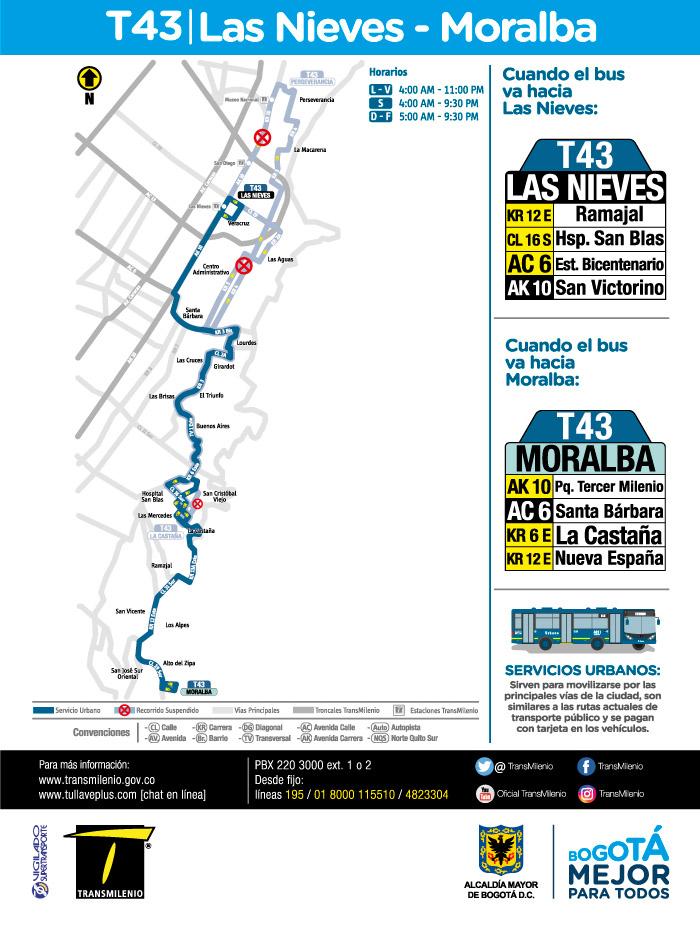 Mapa del trayecto ruta T43, a partir del 21 de mayo