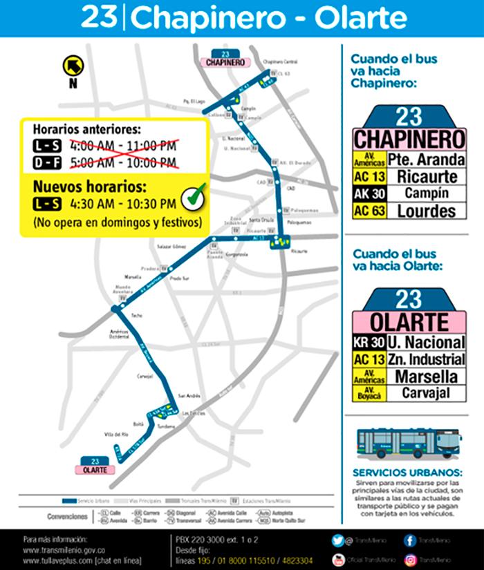 Ajuste de horario de la ruta 23