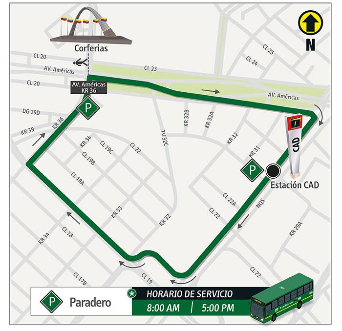 Mapa del recorrido del a ruta alimentadora Corferias para las elecciones presidenciales