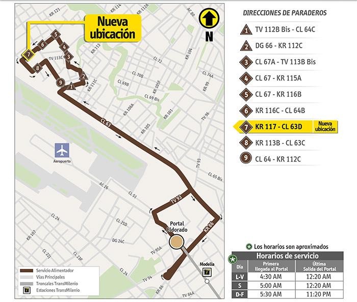 Mapa del recorrido 16-2 Engativá Centro con la nueva ubicación del paradero 7
