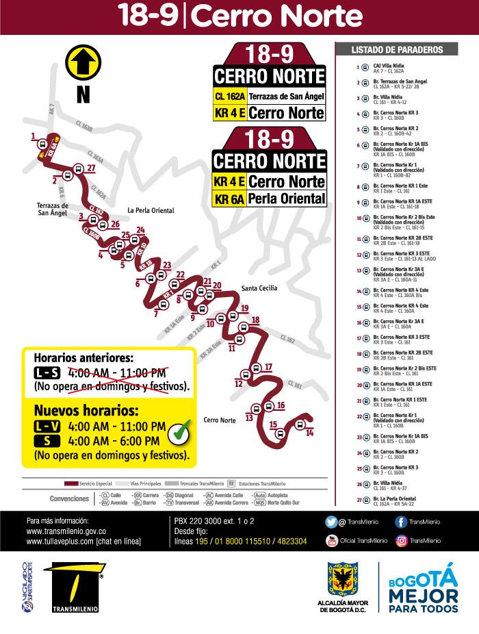 Mapa, horario de la ruta especial 18-9