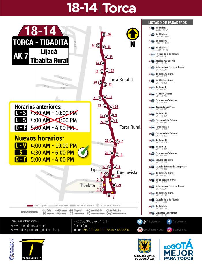 Mapa y horarios de la ruta especial 18-14
