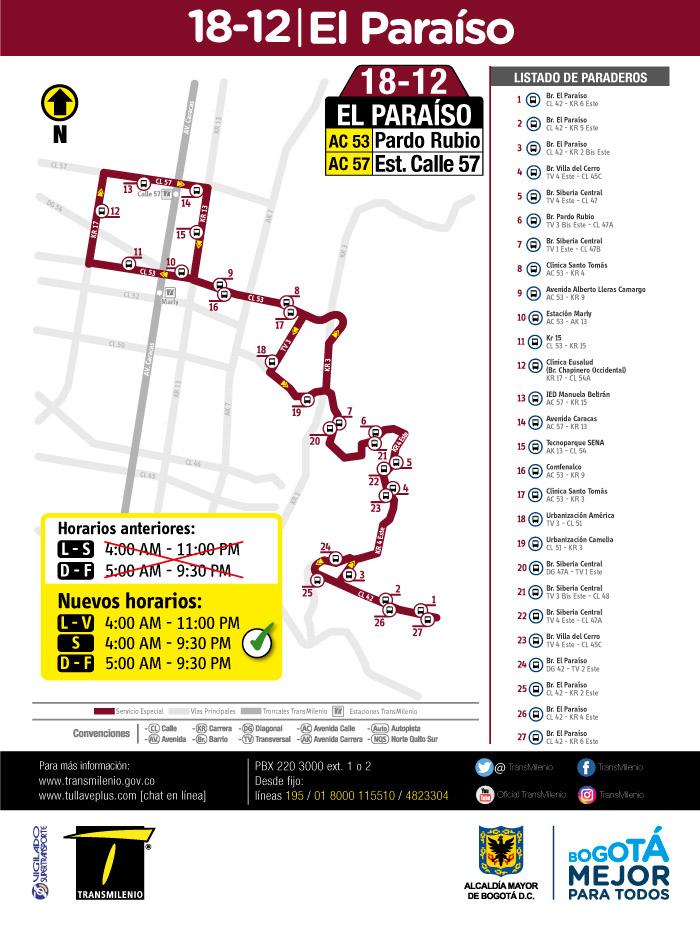 Mapa con el nuevo horario de la ruta especial 18-12