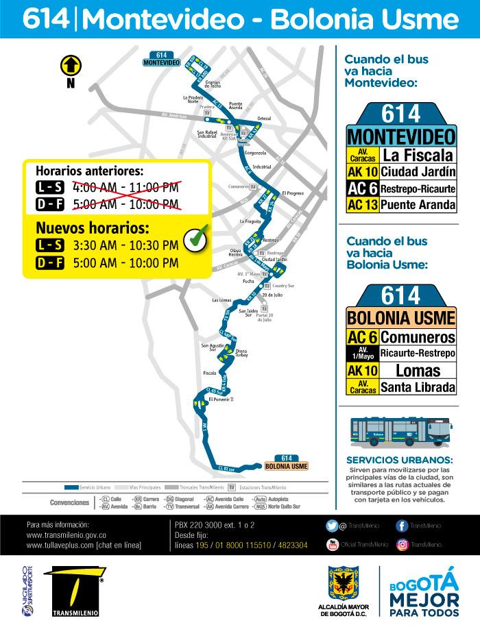 Mapa del servicio urbano 614 y su nuevo horario a partir del 12 de junio