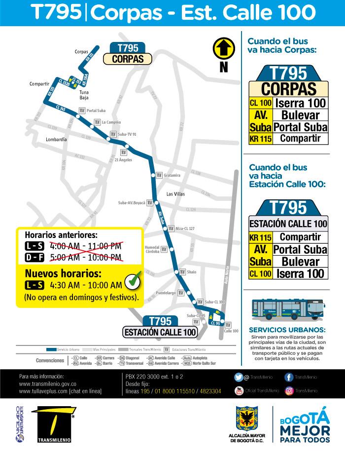 Mapa del servicio urbano T795 y su nuevo horario a partir del 12 de junio