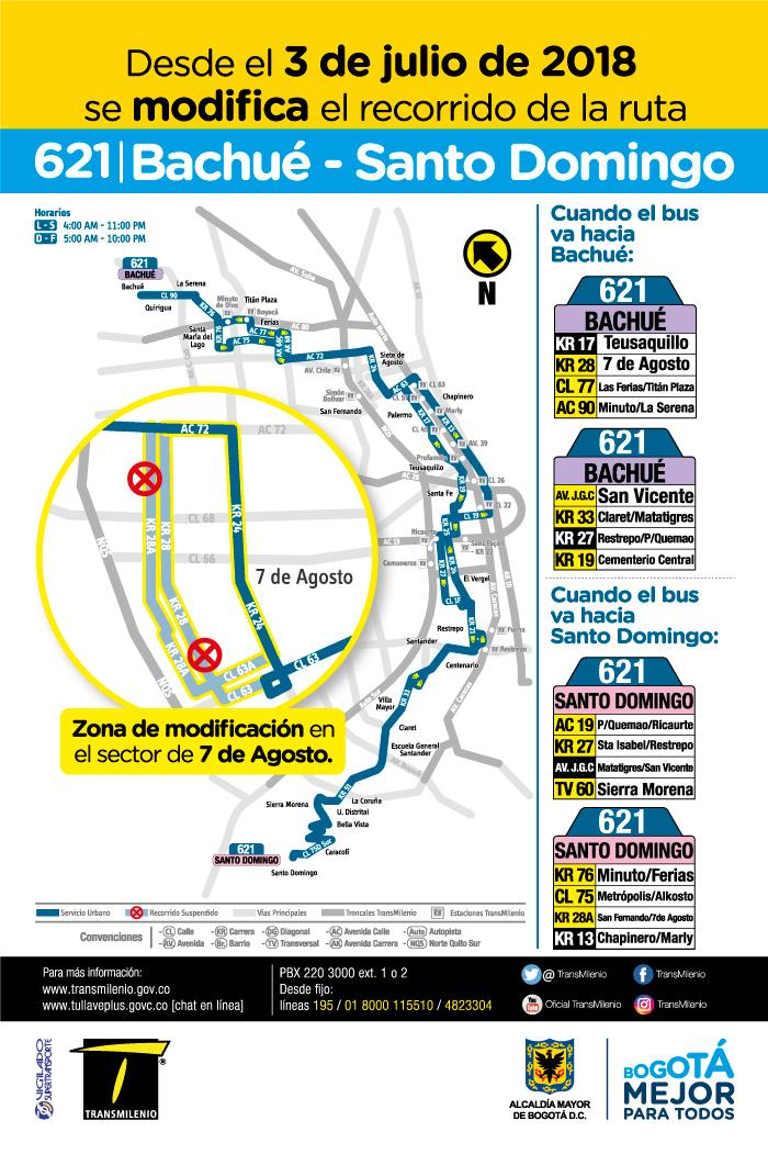Afiche con la novedad de la ruta 621