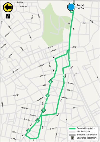 Mapa de la ruta alimentadora a partir del 16 de julio de 2018