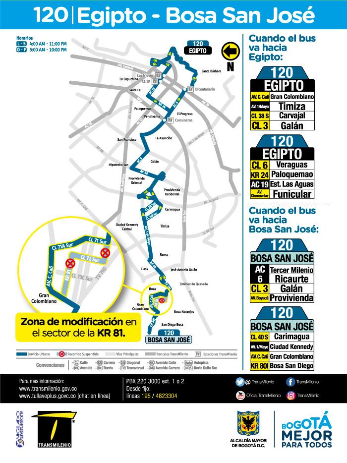 Mapa de la ruta urbana 120 a partir del 16 de julio de 2018