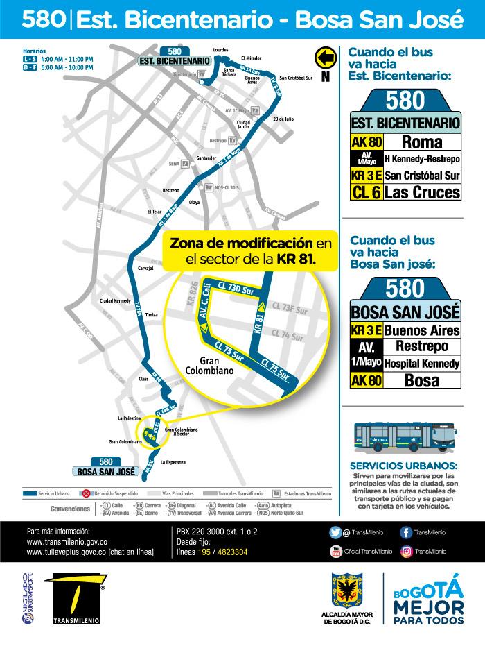 Mapa de la ruta 580 a partir del 16 de julio de 2018