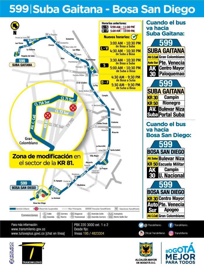 Mapa de la ruta urbana 599 a partir del 16 de julio de 2018