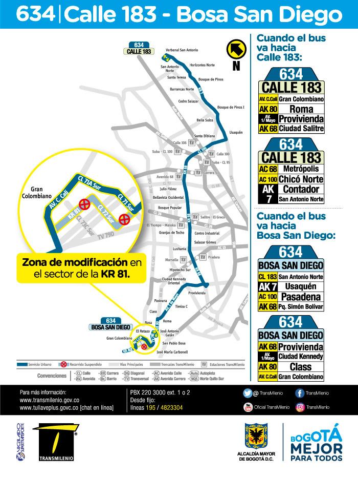 Mapa de la ruta 634 a partir del 16 de julio de 2018