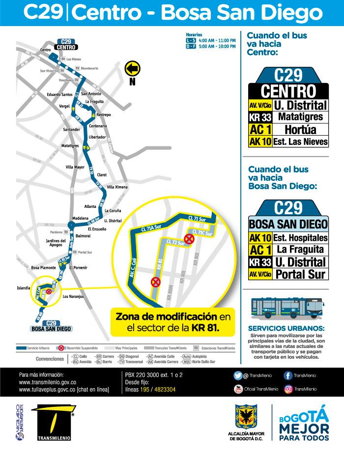 Mapa de la ruta urbana C29 a partir del 16 de julio de 2018