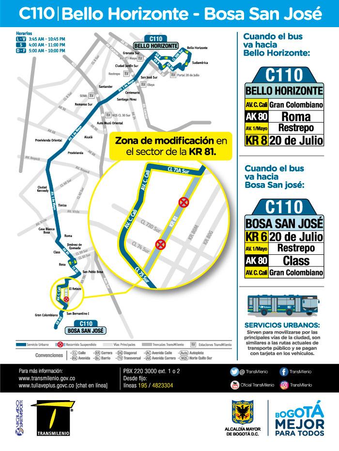 Mapa de la ruta urbana C110 a partir del 16 de julio de 2018