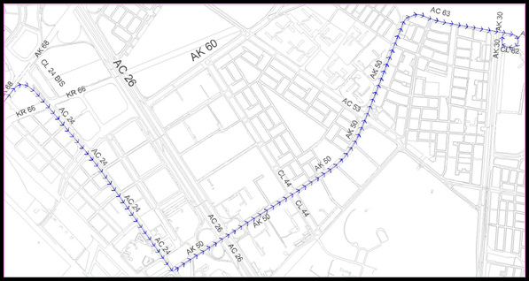 Mapa del desvío por la  Av. Carrera 68 sentido Sur