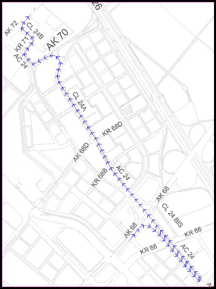 Mapa del desvío por la Av 68