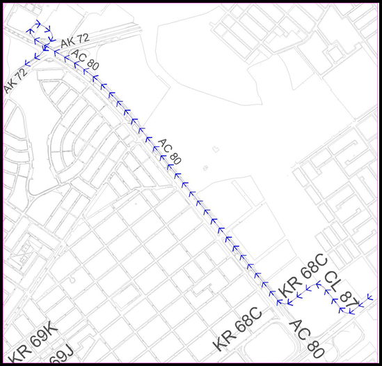 Mapa del desvío por la Av. Carrera 68