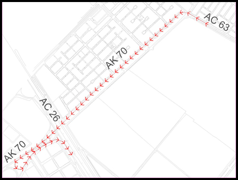 Mapa del desvío por la Carrera 69 a Av. Calle 63 sentido Occidente - Oriente