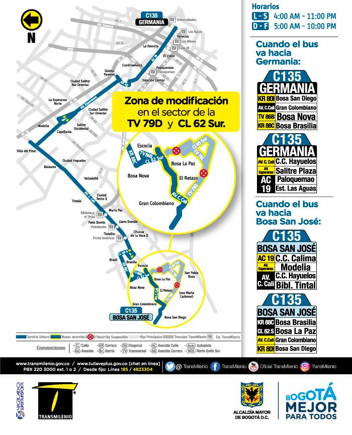 Mapa de la ruta C135  con el ajuste