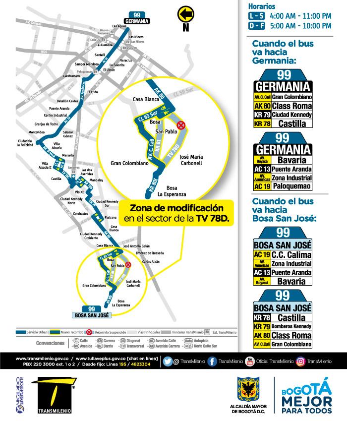 Mapa del recorrido de la ruta 99