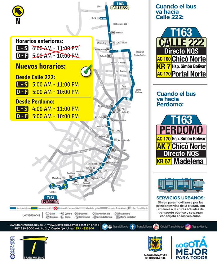Nuevo horario de la ruta T163