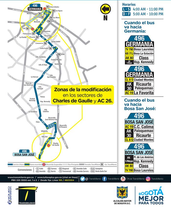 Mapa del ajuste de la ruta 496