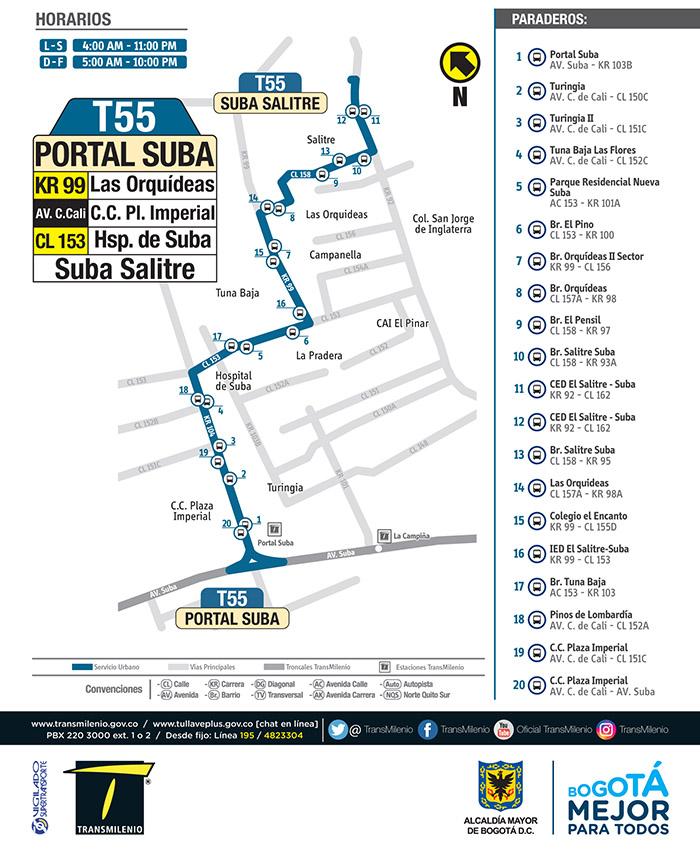 Recorrido de la ruta T55