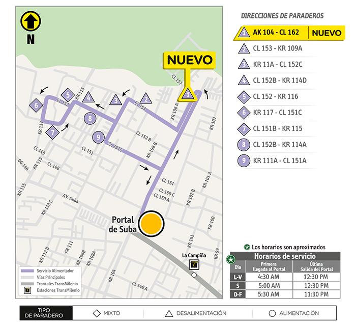 Mapa del recorrido de la ruta 11-6