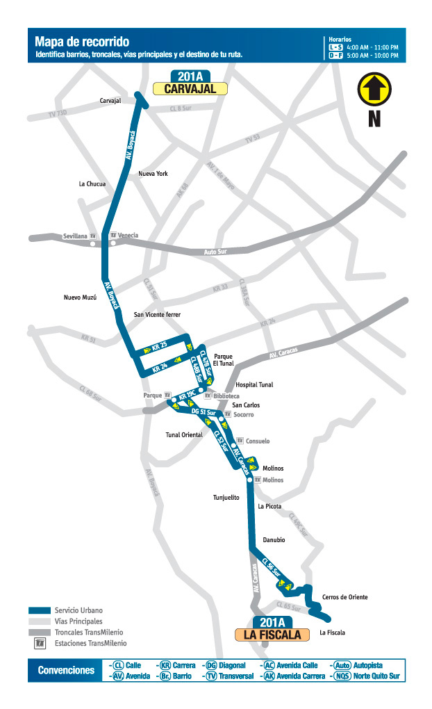 Mapa del recorrido de la ruta 201A