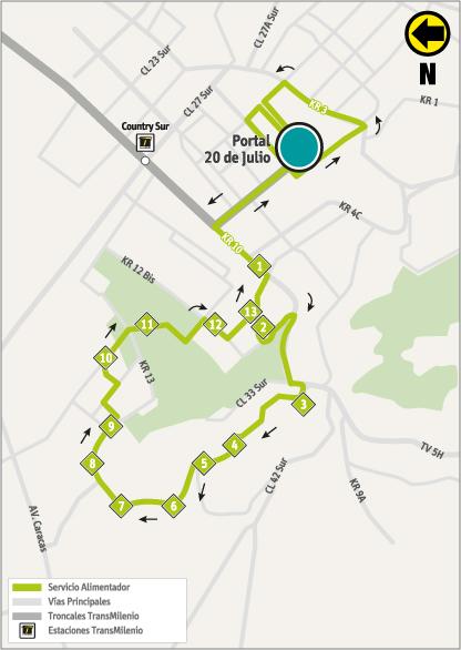 Mapa de la ruta alimentadora 13-13