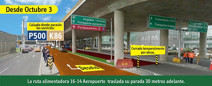 Entrada Vehicular y de transporte del Aeropuerto Internacional el Dorado