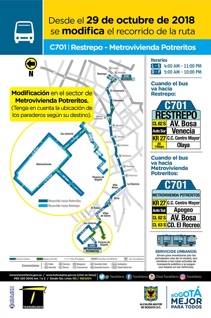 Mapa de la ruta urbana C701