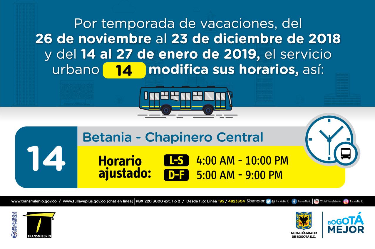 Horario ruta 14 de Lunes a sábados 4:00 AM - 10:00 PM, Domingo y Festivo 5:00 AM - 9:00 PM