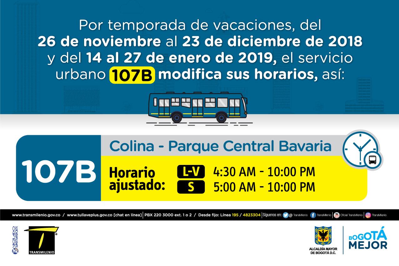 Horario ruta 107B de Lunes a viernes 4:00 AM - 10:00 PM, Sábado 5:00 AM - 10:00PM