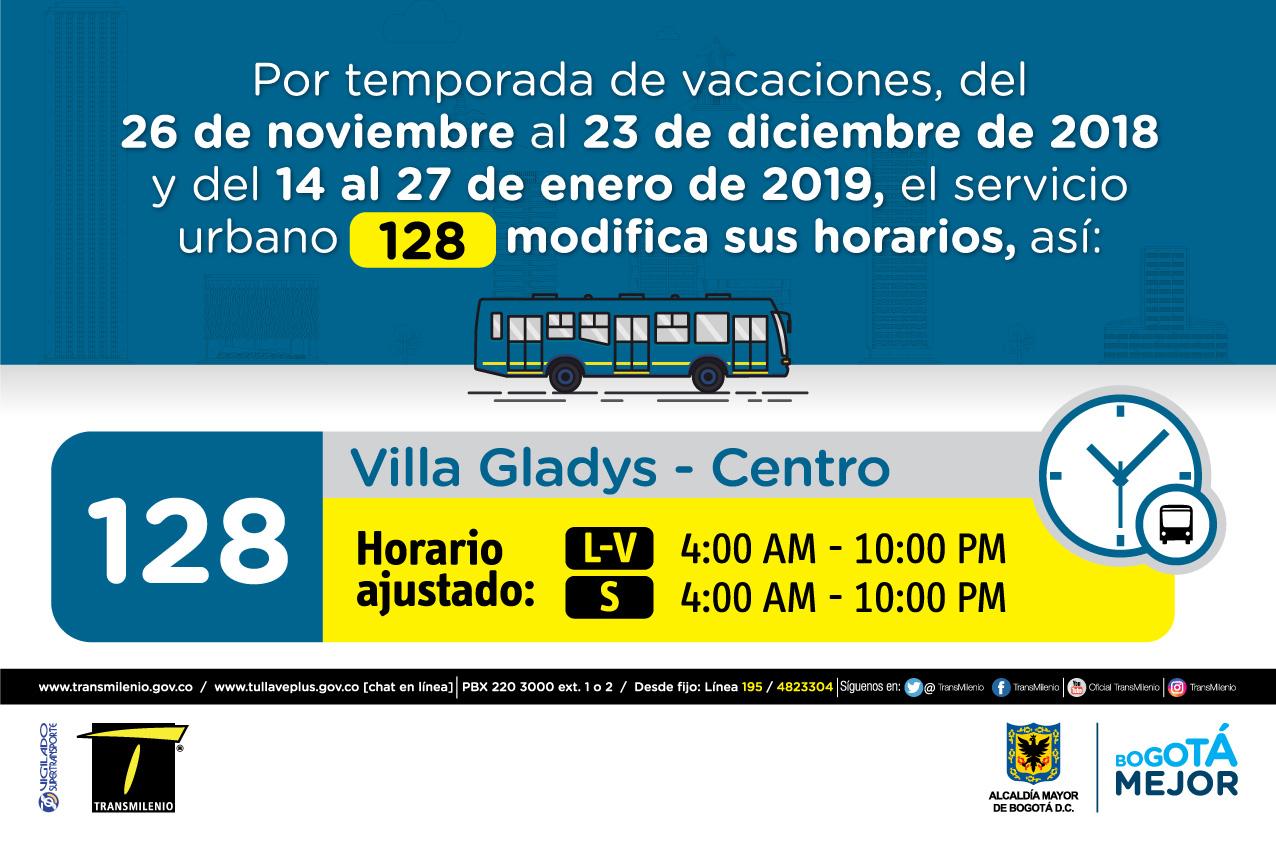 Horario ruta 128 de Lunes a viernes 4:00 AM - 10:00 PM, Sábado 4:00 AM - 10:00PM