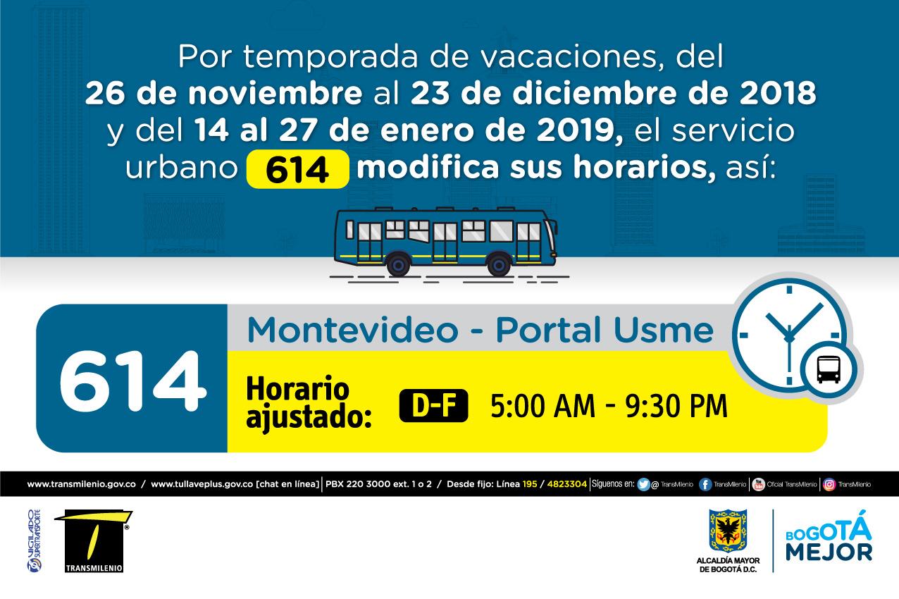 Horario ruta 614 de  Domingo y Festivo 5:00 AM - 9:30 PM
