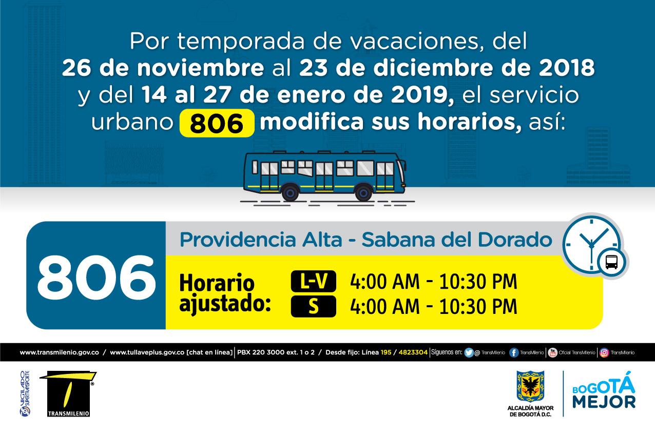 Horario ruta 806 de Lunes a viernes 4:00 AM - 10:30 PM, Sábado 4:00 AM - 10:30PM