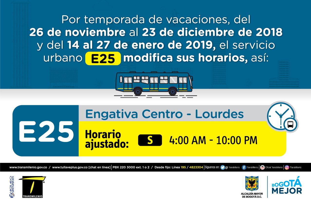 Horario ruta E25 de Sábado 4:00 AM - 10:00PM