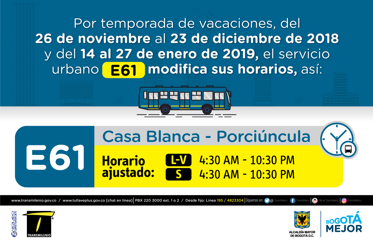 Horario ruta E61 de Lunes a viernes 4:30 AM - 10:30 PM, Sábado 4:30 AM - 10:30PM