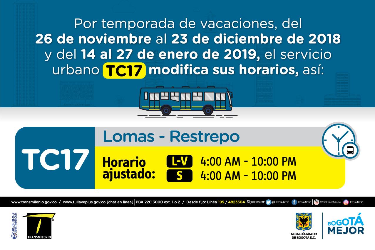 Horario ruta TC17 de Lunes a viernes 4:00 AM - 10:00 PM, Sábado 4:00 AM - 10:00PM