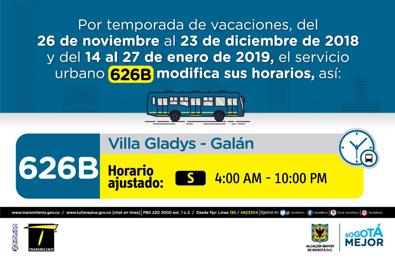 Horario ruta 626B de  Sábado 4:00 AM - 10:00PM