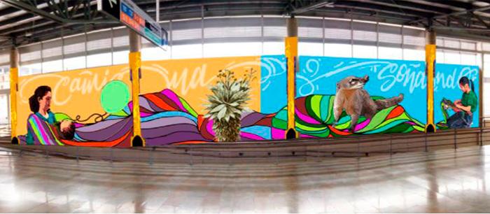 Mural de la estación intermedia de la primera de mayo