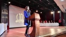 Dra. Alexandra Rojas, Gerente General de TRANSMILENIO S.A., realizando su discurso de Bienvenida.