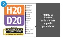 Se amplía horarios en la mañana del servicios H20  D20 L-S 5:00 am-10:00 am