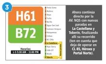 El  servicio H61 B72 ahora continúa directo por la AV.NQS con nuevas paradas en La Castellana y Toberín, finalizando allí su recorrido (ten en cuenta que deja de operar en CL 85, Héroes y Portal Norte).