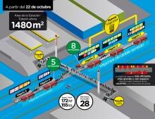 La estación Toberín cuenta ahora con 300 % de mayor espacio de plataforma (de 489 m2 a 1480 m2, 991 m2 adicionales)