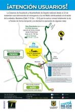 Por el tiempo de la obra siete rutas zonales (C201, 736, 41, T11, 624 y 742) recortan su trazado y se suspende la ruta alimentadora 6-4 Paraíso.  Como medida de mitigación TransMilenio pone en funcionamiento rutas circulares