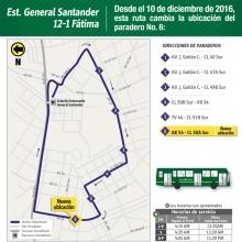 servicio alimentador 12-1 Estación Intermedia General Santander-Fátima cambiará la ubicación del paradero número 6 que quedará en la carrera 54 con calle 50 A sur