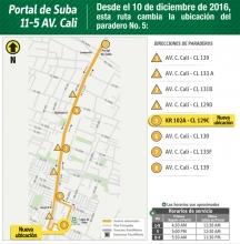 ruta 11-5 Avenida Cali, que tendrá una modificación en su parada número 5 en la carrera 102A con calle 129C