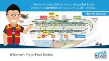 En el portal  Suba Servicio H17 cambia  su parada a la plataforma 2, de igual  manera F19 cambia su parada de la plataforma 2 a la 1