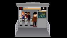 Imagen ilustrada de una estación de TransMilenio con taquilla